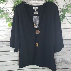 NWT JM Collection huge button 3/4 sleeve cardigan